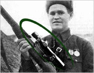 Снайпер Зайцев с прицелом ПЕ